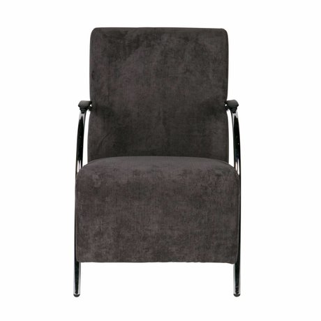 LEF collections Halifax gris antracita en el sillón de crucería 90x56x85cm textiles