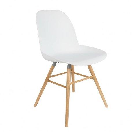 Zuiver Comedor silla 51x49x60cm Albert Kuip de madera de plástico blanco