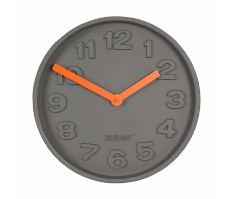 Zuiver Béton TimeClock orange, gris aluminium d'orange pointeur 31,6x31,6x5cm