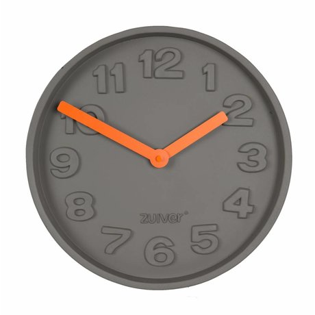 Zuiver naranja TimeClock concreto, gris con naranja de aluminio 31,6x31,6x5cm puntero