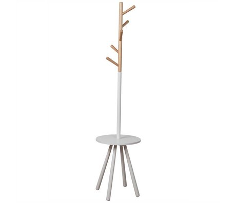 Zuiver Coat Rack arbre de table en bois blanc 179xØ40cm blanc