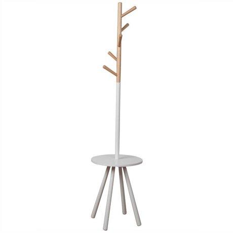 Zuiver Coat Rack Raf masa ağaç beyaz tahta beyaz 179xØ40cm