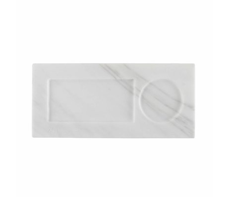 Zuiver marbre Plateau blanc, marbre blanc 22x10x1,5cm