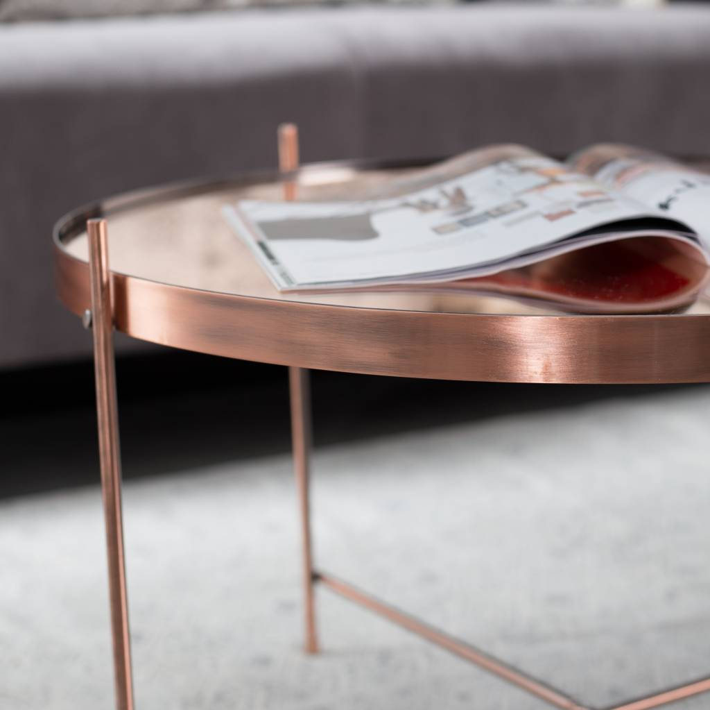 Zuiver occasional table cupid xxl copper metal copper 82 5 35cm for Table zuiver