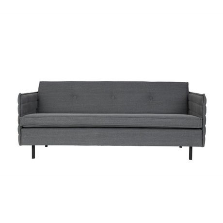 Zuiver Bank Jaey 2,5-seat fabric in dark metal 181x90x76cm