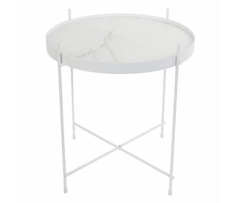 Zuiver Amor di marmo bianco laterale, Ø43x45cm bianco metallo