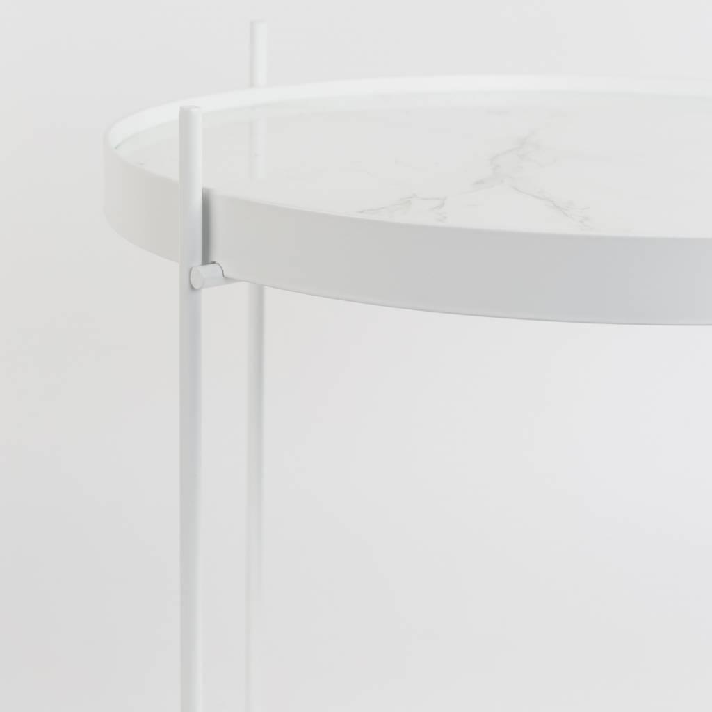Zuiver Beistelltisch Amor Marmor weiß, Metall weiß Ø43x45cm ...