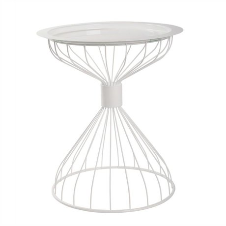 Zuiver Sidetable Kelly tray white, metal white Ø50x57cm