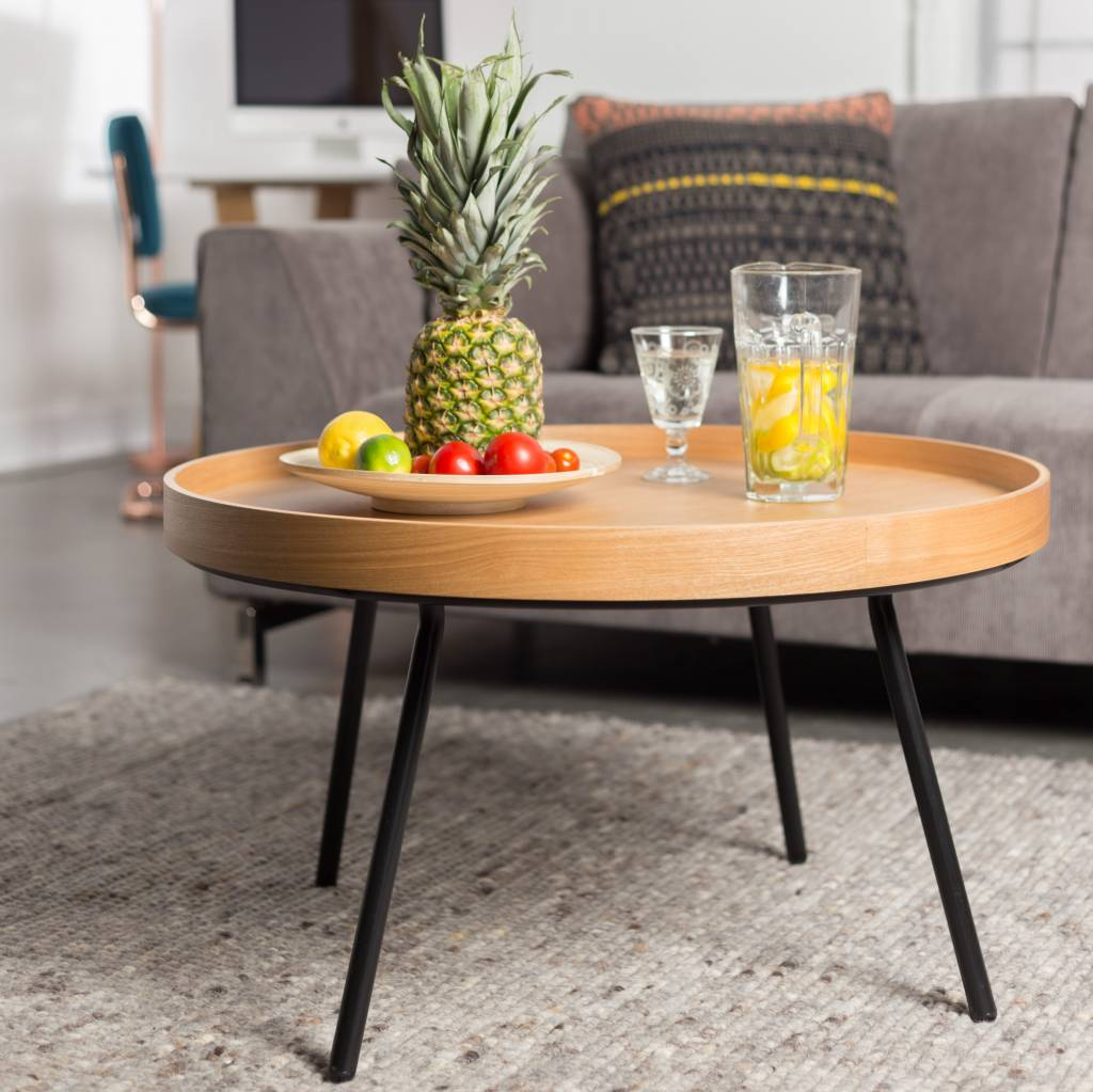 Zuiver Oak coffee table tray, wood Ø78x45cm - lefliving.com
