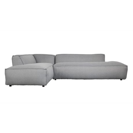 Zuiver Bank Fat Freddy 3 seater Long Light Plastic 308x103 / 88x72cm gray fabric left
