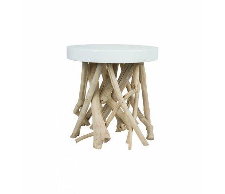 Zuiver Side Cumi wood white Ø46x50cm