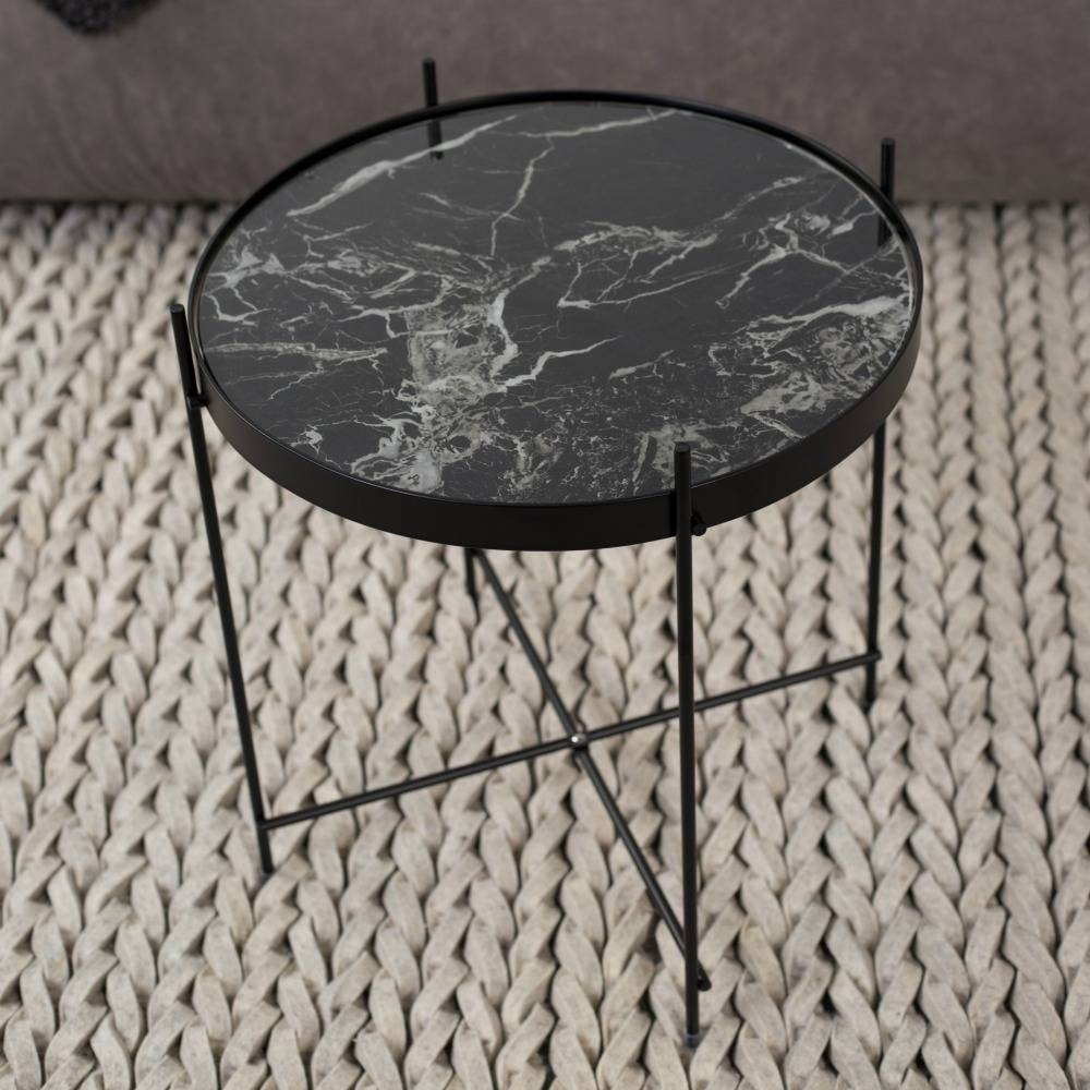 Zuiver Beistelltisch Marmor Amor schwarz Metall schwarz Ø43x45cm ...