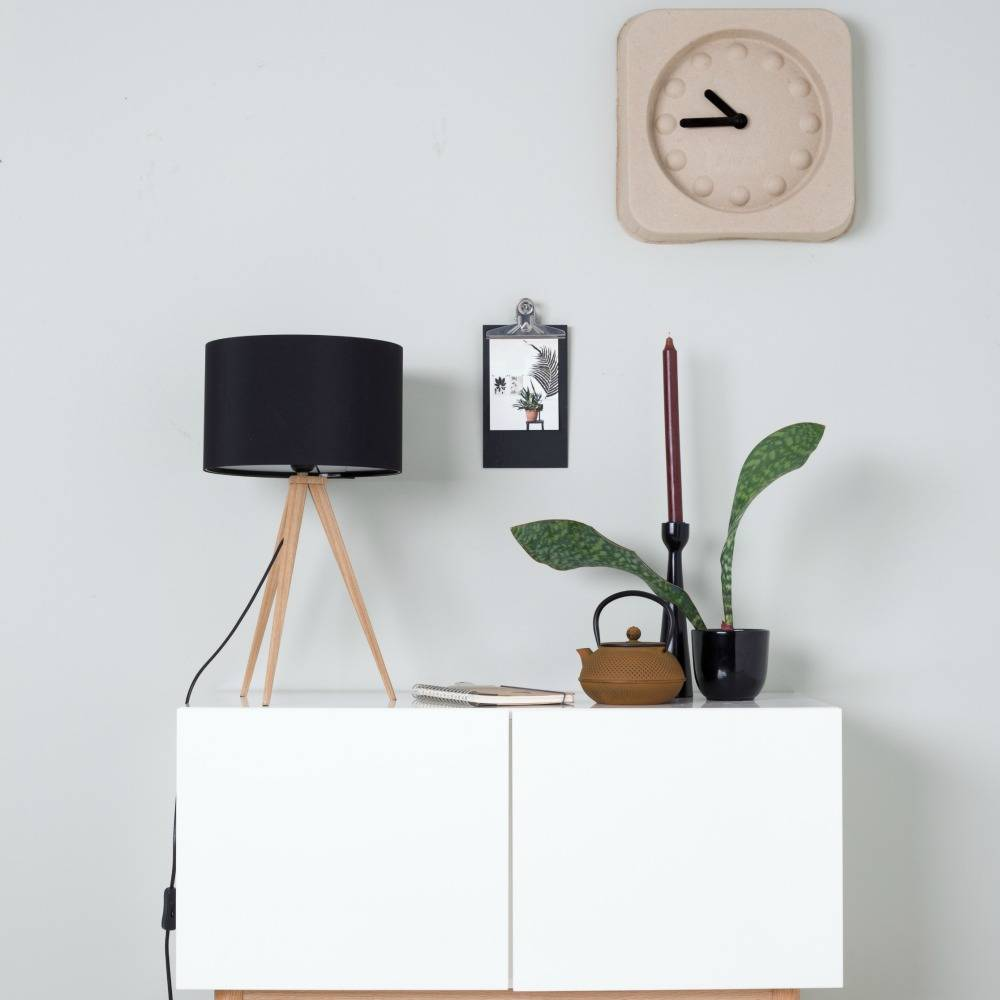 zuiver treppiede lampada da tavolo 28x51cm legno nero. Black Bedroom Furniture Sets. Home Design Ideas
