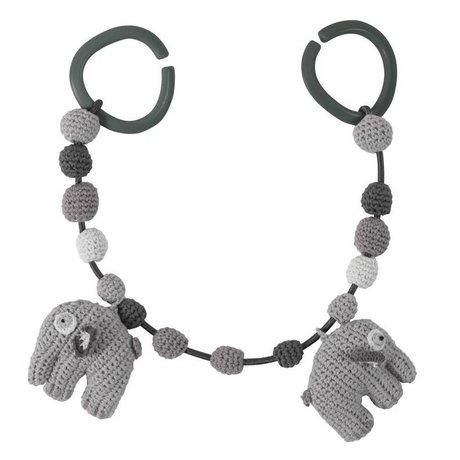Sebra Elephant Auto strammer grå 53cm bomuld