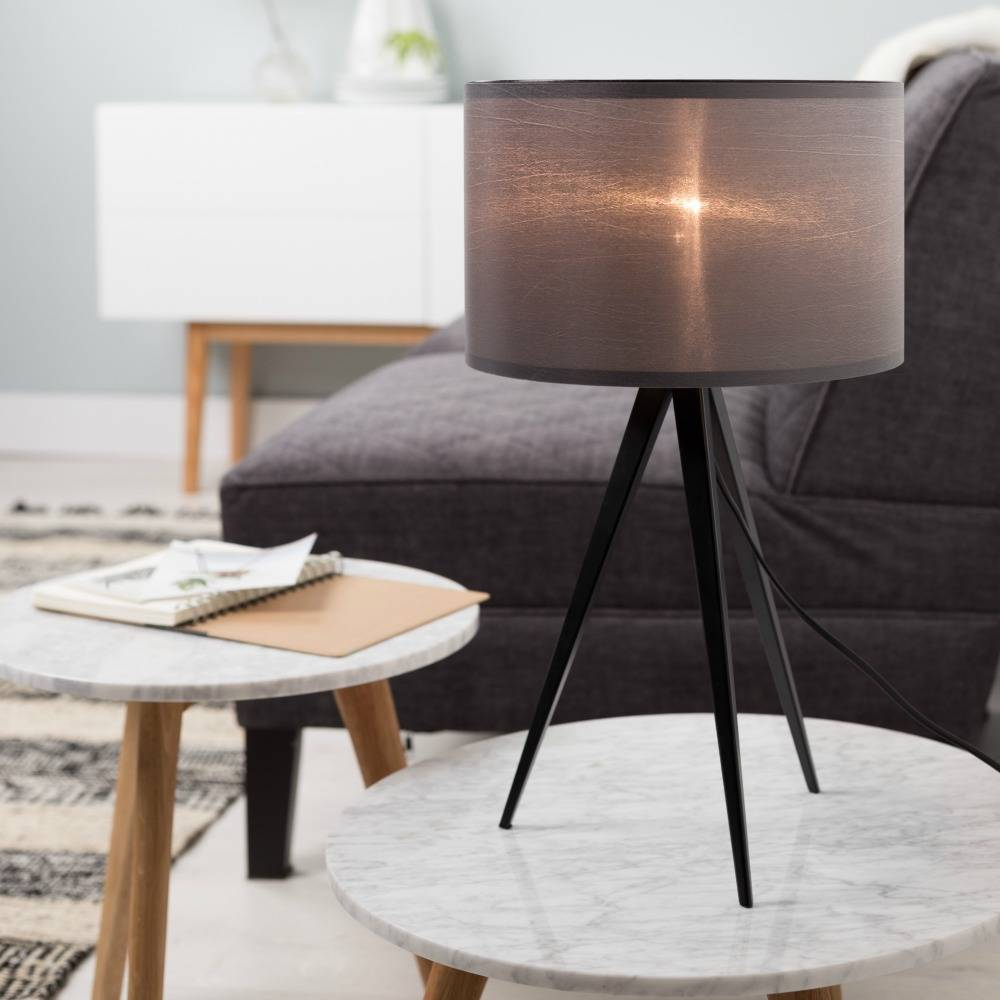 Zuiver tripod table lamp metal textile black gray 28x51cm how beautiful this zuiver tripod table lamp from the highland collection enchanting combination of metal wood and fabric lampshade geotapseo Images
