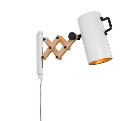 Zuiver Duvar lambası Flex Çelik Ahşap beyaz 10x27,5-43x24cm