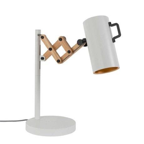 Zuiver Lampe de table Flex Acier Bois 22x29,5-45x50cm blanc