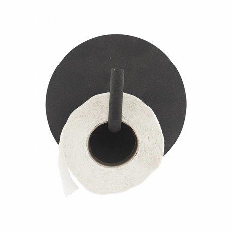 Housedoctor Toilet roll holder Text aluminum black ø13x12.5cm