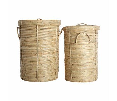 Housedoctor Chaka panier à linge ensemble de ø37x57cm 2 en bambou et ø45x64cm