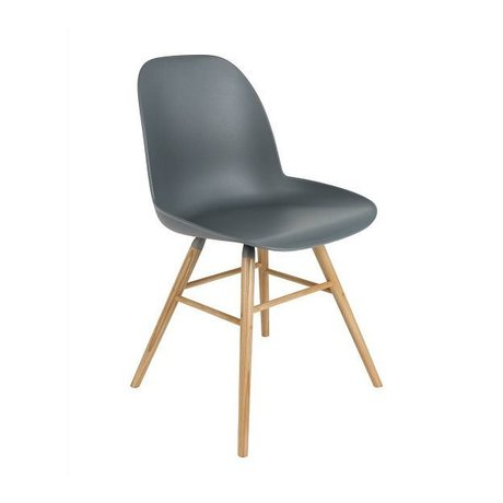 Zuiver Yemek sandalye Albert Kuip plastik ahşap koyu gri 62x56x61cm