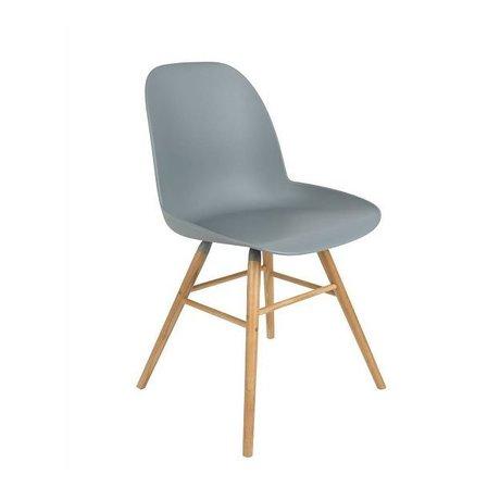 Zuiver Yemek sandalye Albert Kuip plastik ahşap açık gri 62x56x61cm