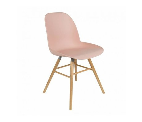 Zuiver silla de comedor Albert Kuip rosa de plástico de madera 62x56x61cm