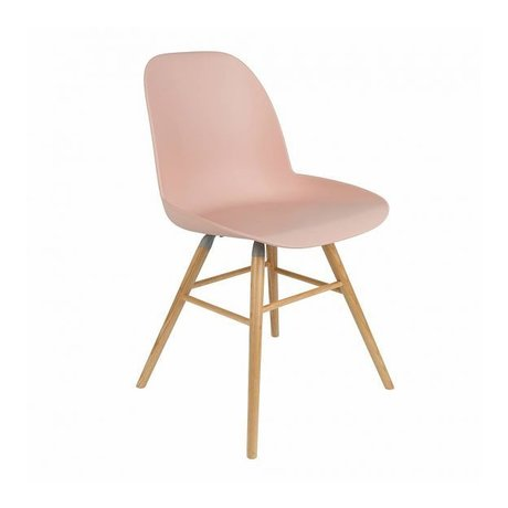 Zuiver Dining chair Albert Kuip pink plastic timber 62x56x61cm