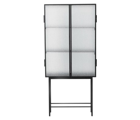 Ferm Living Haze Cabinet vitrine 70x155x32cm de verre en métal noir