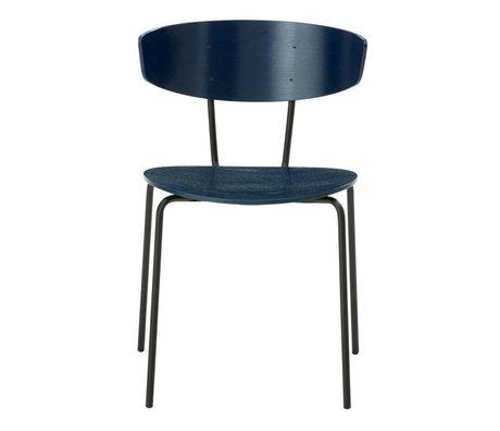 Ferm Living Spisebordsstol Herman mørkeblå 50x74x47cm Træ Metal