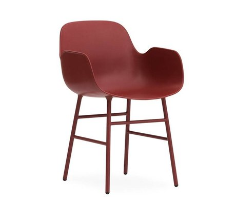 Normann Copenhagen Lænestol formular rød plastik 56x52x80cm stål