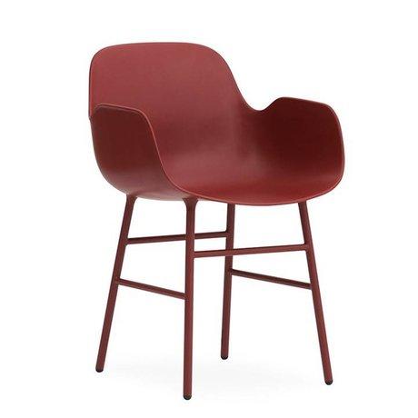 Normann Copenhagen Armchair shape red plastic steel 56x52x80cm