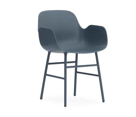 Normann Copenhagen Armchair shape blue plastic steel 56x52x80cm