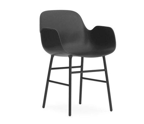 Normann Copenhagen Armchair shape black plastic steel 56x52x80cm
