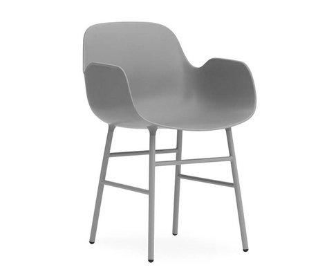 Normann Copenhagen Lænestol formular grå plast 56x52x80cm stål