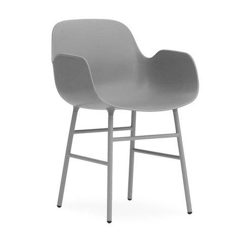Normann Copenhagen Armchair shape gray plastic steel 56x52x80cm
