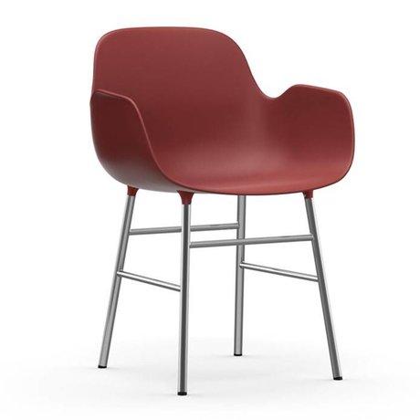 Normann Copenhagen forma sillón rojo de cromo plástico 56x52x80cm