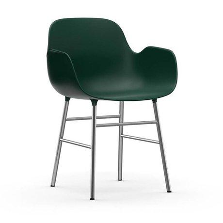 Normann Copenhagen Armchair shape green plastic chrome 56x52x80cm