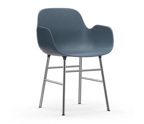 Normann Copenhagen Lehnstuhl Form blau Kunststoff Chrom 56x52x80cm
