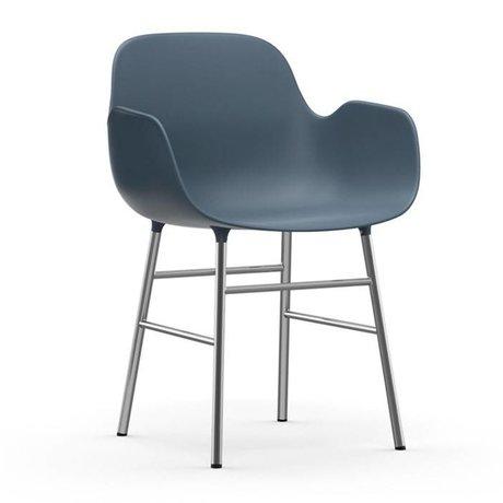 Normann Copenhagen Armchair shape blue plastic chrome 56x52x80cm
