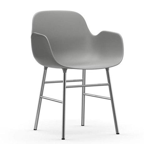 Normann Copenhagen Lænestol formular grå plast 56x52x80cm chrom