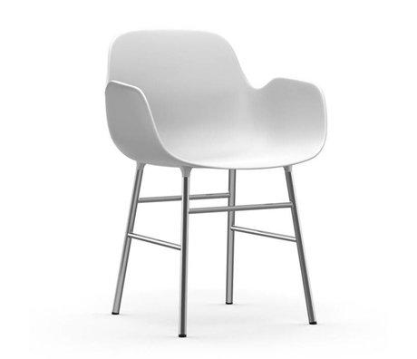Normann Copenhagen Fauteuil forme chrome plastique blanc 56x52x80cm