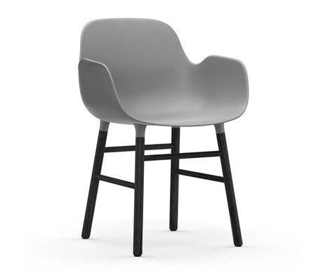 Normann Copenhagen Fauteuil forme bois plastique noir gris 56x52x80cm