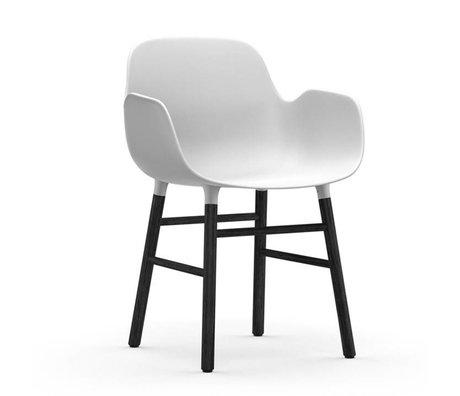 Normann Copenhagen Fauteuil forme blanc bois en plastique noir de 56x52x80cm