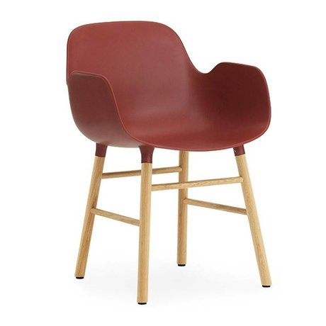Normann Copenhagen Chair style red brown plastic wood 56x52x80cm