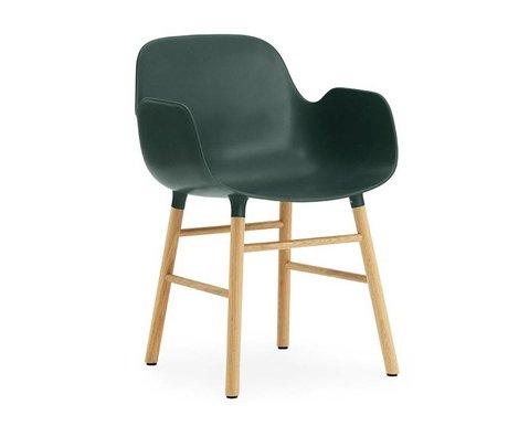 Normann Copenhagen Armchair shape green brown plastic wood 56x52x80cm