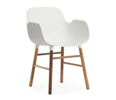 Normann Copenhagen Armchair shape white brown plastic wood 56x52x80cm