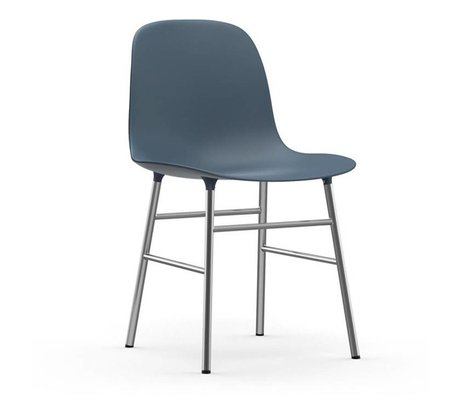 Normann Copenhagen Stol form blå plast chrome 48x52x80cm