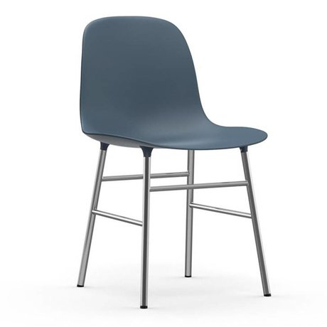 Normann Copenhagen Chair shape blue plastic chrome 48x52x80cm