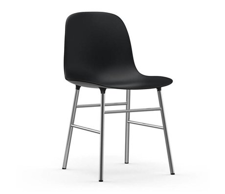 Normann Copenhagen Stol form af sort plast krom 48x52x80cm