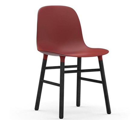 Normann Copenhagen Chair shape red black plastic wood 48x52x80cm